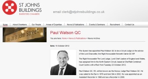 Judge Paul Watson appointed circuit judge by Ken Clarke
